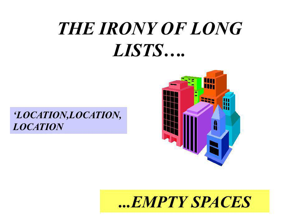 THE IRONY OF LONG LISTS…....EMPTY SPACES LOCATION,LOCATION, LOCATION