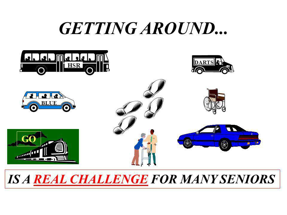 GETTING AROUND... IS A REAL CHALLENGE FOR MANY SENIORS HSR DARTS BLUE GO