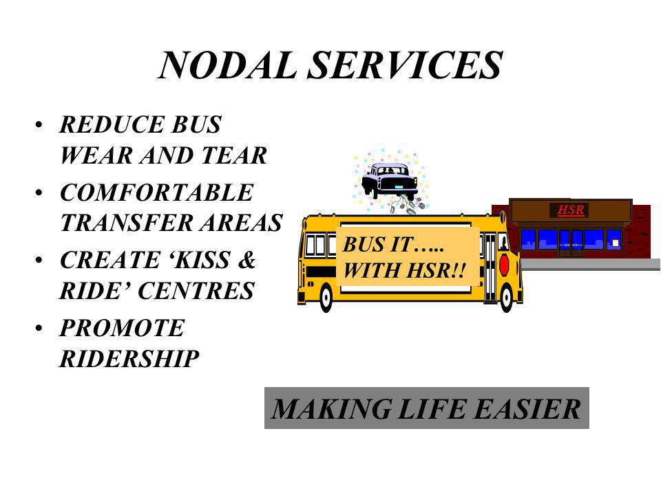 NODAL SERVICES REDUCE BUS WEAR AND TEAR COMFORTABLE TRANSFER AREAS CREATE KISS & RIDE CENTRES PROMOTE RIDERSHIP BUS IT…..