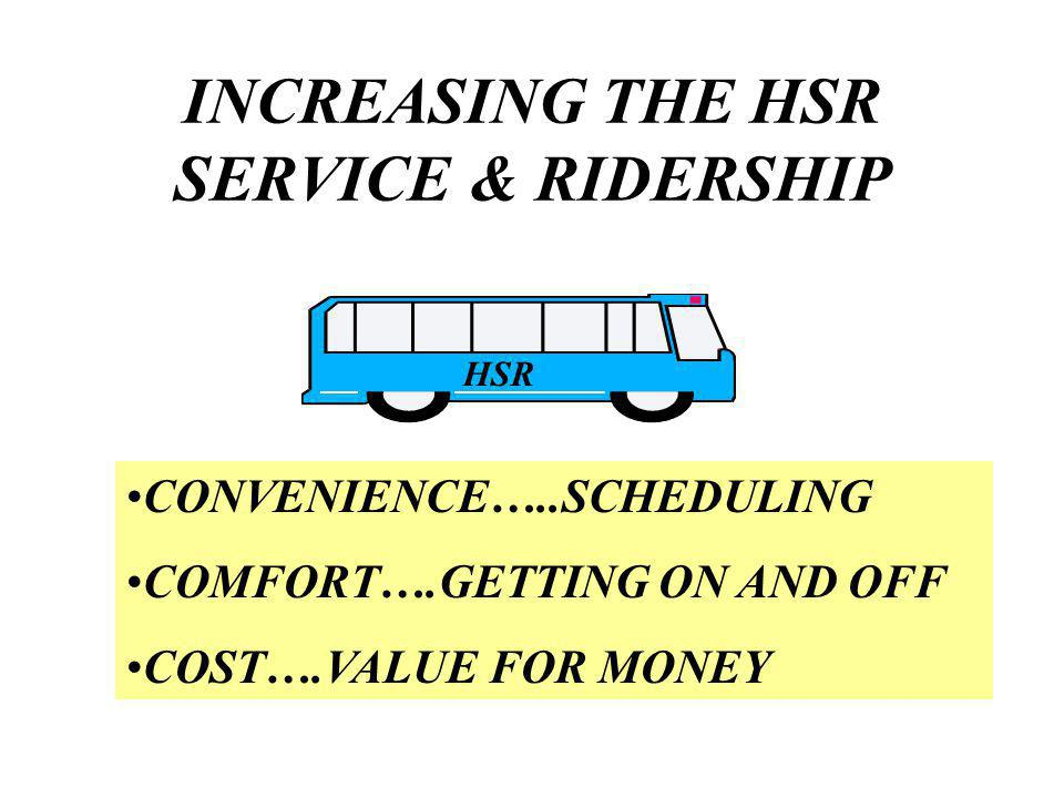 INCREASING THE HSR SERVICE & RIDERSHIP CONVENIENCE…..SCHEDULING COMFORT….GETTING ON AND OFF COST….VALUE FOR MONEY HSR