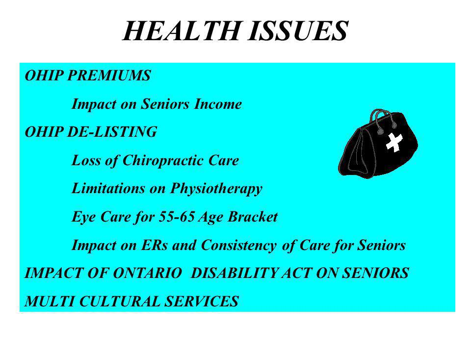HEALTH ISSUES OHIP PREMIUMS Impact on Seniors Income OHIP DE-LISTING Loss of Chiropractic Care Limitations on Physiotherapy Eye Care for Age Bracket Impact on ERs and Consistency of Care for Seniors IMPACT OF ONTARIO DISABILITY ACT ON SENIORS MULTI CULTURAL SERVICES