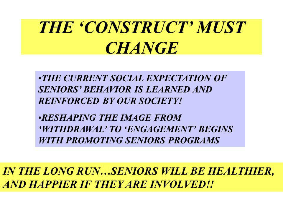 THE CONSTRUCT MUST CHANGE THE CURRENT SOCIAL EXPECTATION OF SENIORS BEHAVIOR IS LEARNED AND REINFORCED BY OUR SOCIETY.