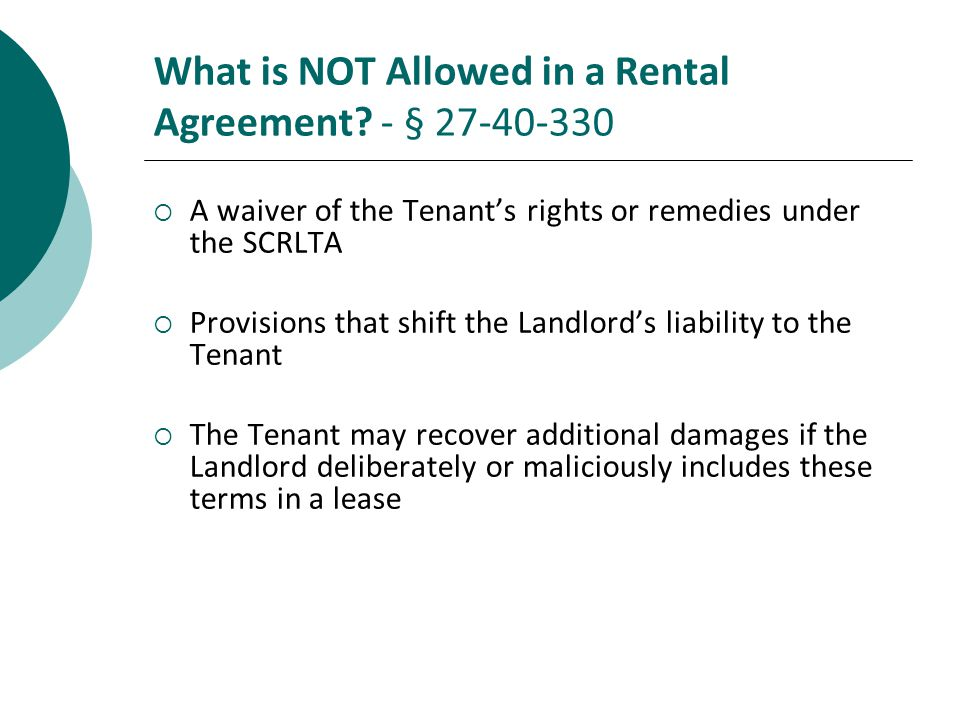 What is NOT Allowed in a Rental Agreement.