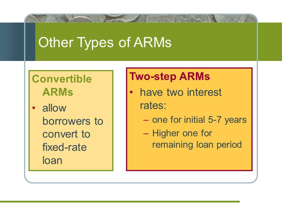 Other Types of ARMs Convertible ARMs allow borrowers to convert to fixed-rate loan Two-step ARMs have two interest rates: –one for initial 5-7 years –Higher one for remaining loan period