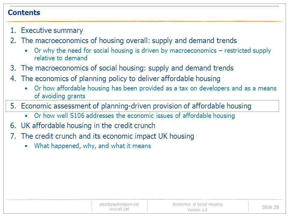 paul@paulhodgson.net Arcwell Ltd Slide 38 Economics of Social Housing Version 1.0 Contents 1.Executive summary 2.The macroeconomics of housing overall