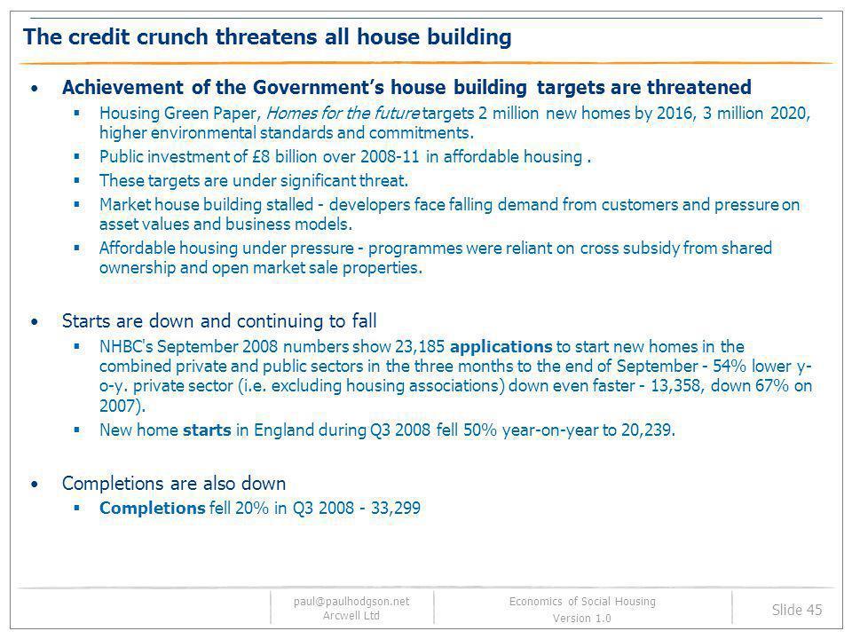 paul@paulhodgson.net Arcwell Ltd Slide 45 Economics of Social Housing Version 1.0 The credit crunch threatens all house building Achievement of the Go