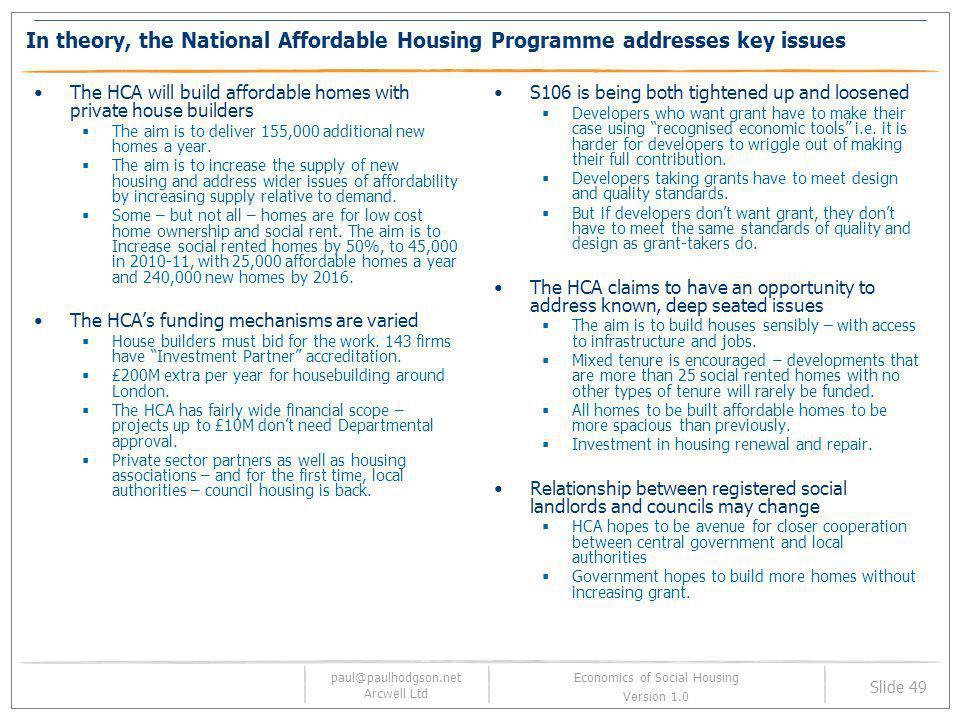 paul@paulhodgson.net Arcwell Ltd Slide 49 Economics of Social Housing Version 1.0 In theory, the National Affordable Housing Programme addresses key i