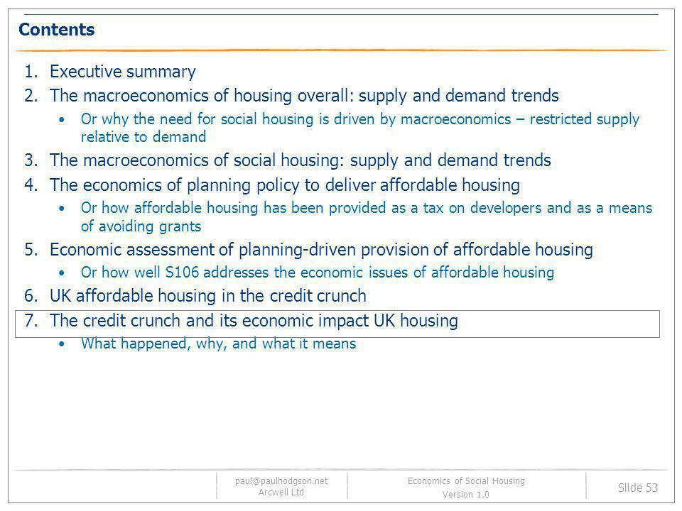paul@paulhodgson.net Arcwell Ltd Slide 53 Economics of Social Housing Version 1.0 Contents 1.Executive summary 2.The macroeconomics of housing overall