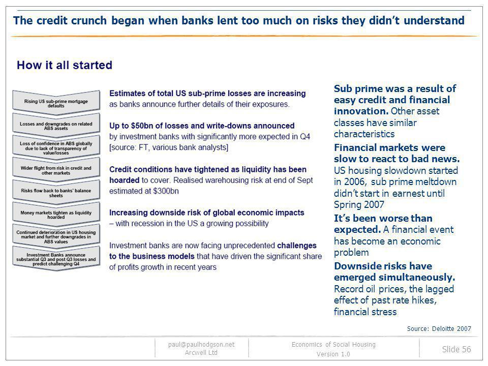 paul@paulhodgson.net Arcwell Ltd Slide 56 Economics of Social Housing Version 1.0 The credit crunch began when banks lent too much on risks they didnt