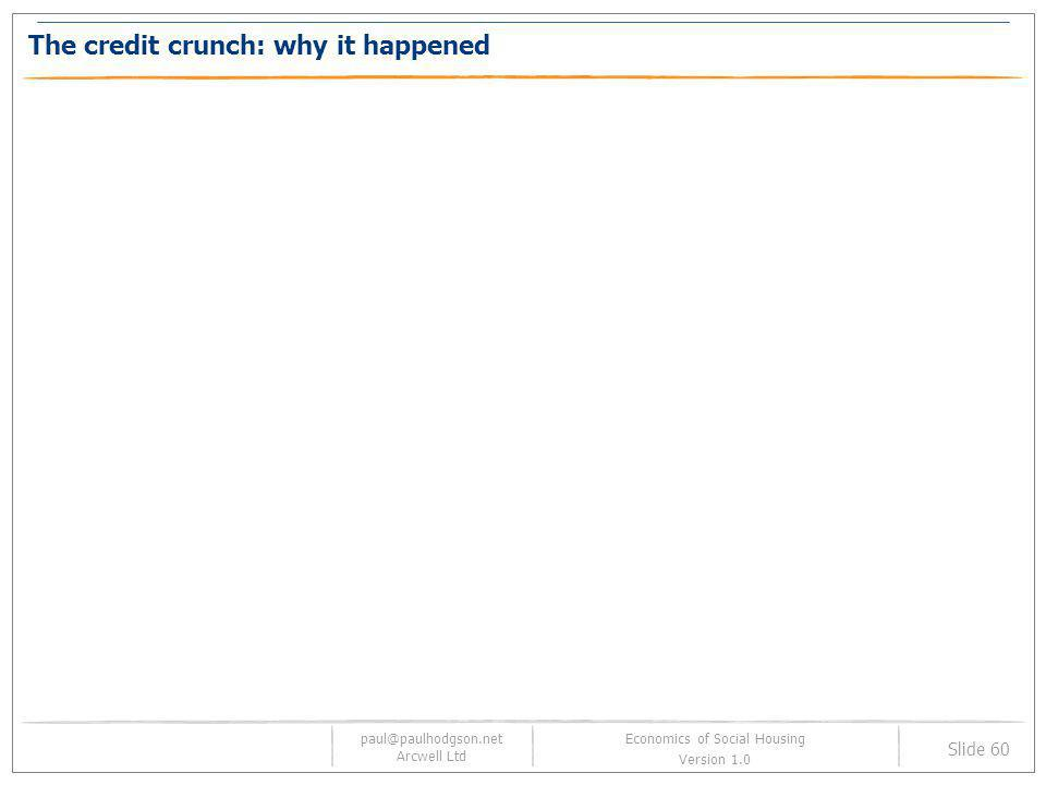 paul@paulhodgson.net Arcwell Ltd Slide 60 Economics of Social Housing Version 1.0 The credit crunch: why it happened