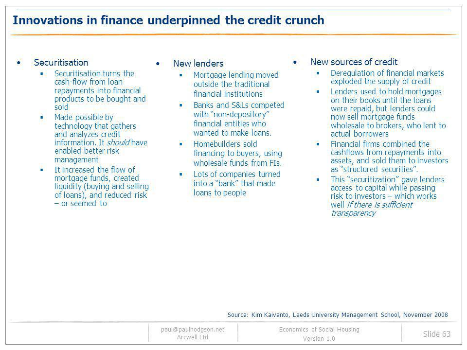 paul@paulhodgson.net Arcwell Ltd Slide 63 Economics of Social Housing Version 1.0 Innovations in finance underpinned the credit crunch Securitisation