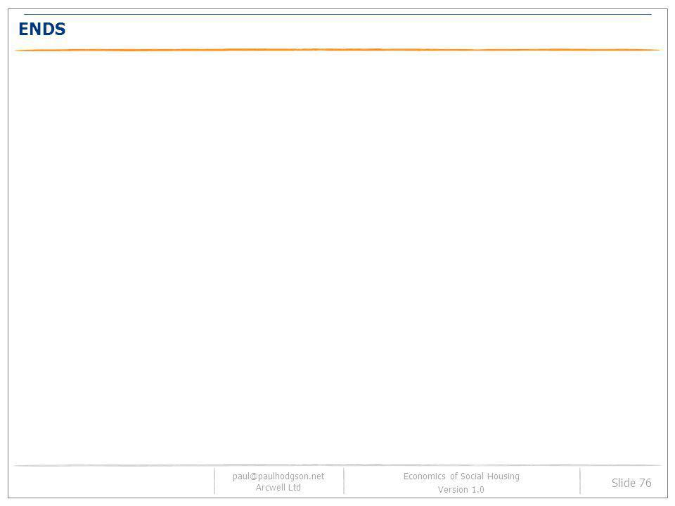 paul@paulhodgson.net Arcwell Ltd Slide 76 Economics of Social Housing Version 1.0 ENDS
