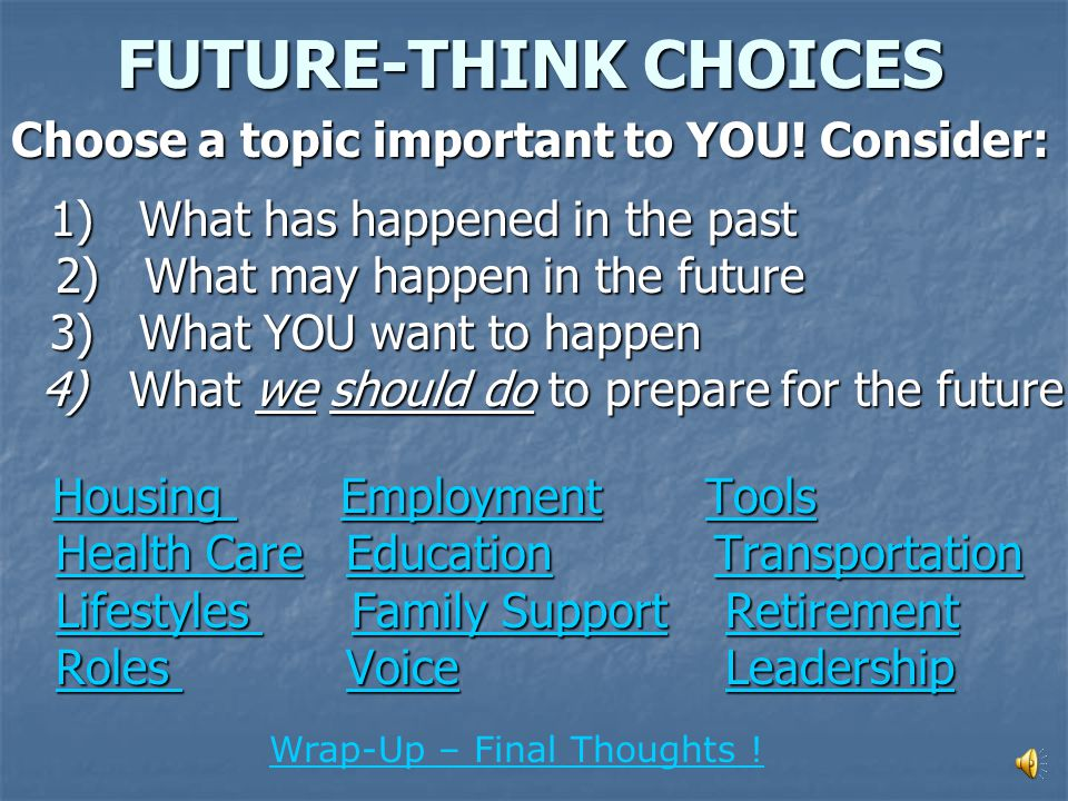PART II Think about changing what is important to you!