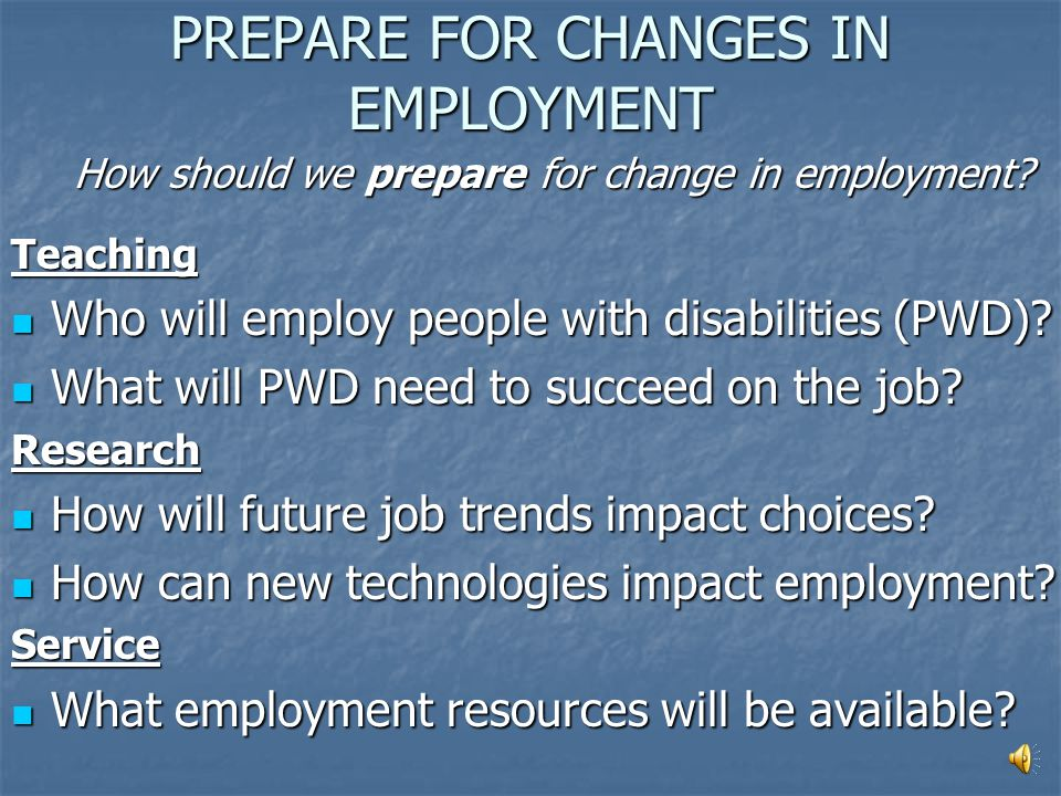 Employment How will employment change in the future? Think about changes on the job and in the workplace! Discuss... Attitudes Technology Attitudes Te