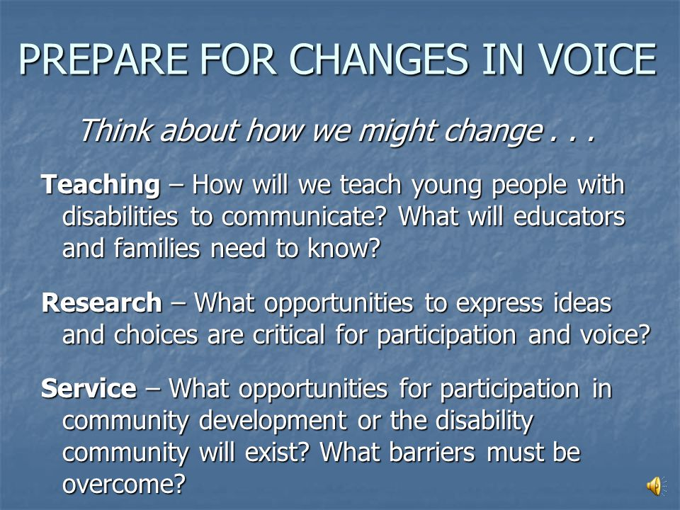 VOICE How will voice be expressed in the future.Think about changes in focus and means.
