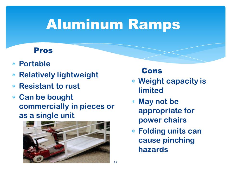 17 Weight capacity is limited May not be appropriate for power chairs Folding units can cause pinching hazards Cons Portable Relatively lightweight Resistant to rust Can be bought commercially in pieces or as a single unit Pros Aluminum Ramps