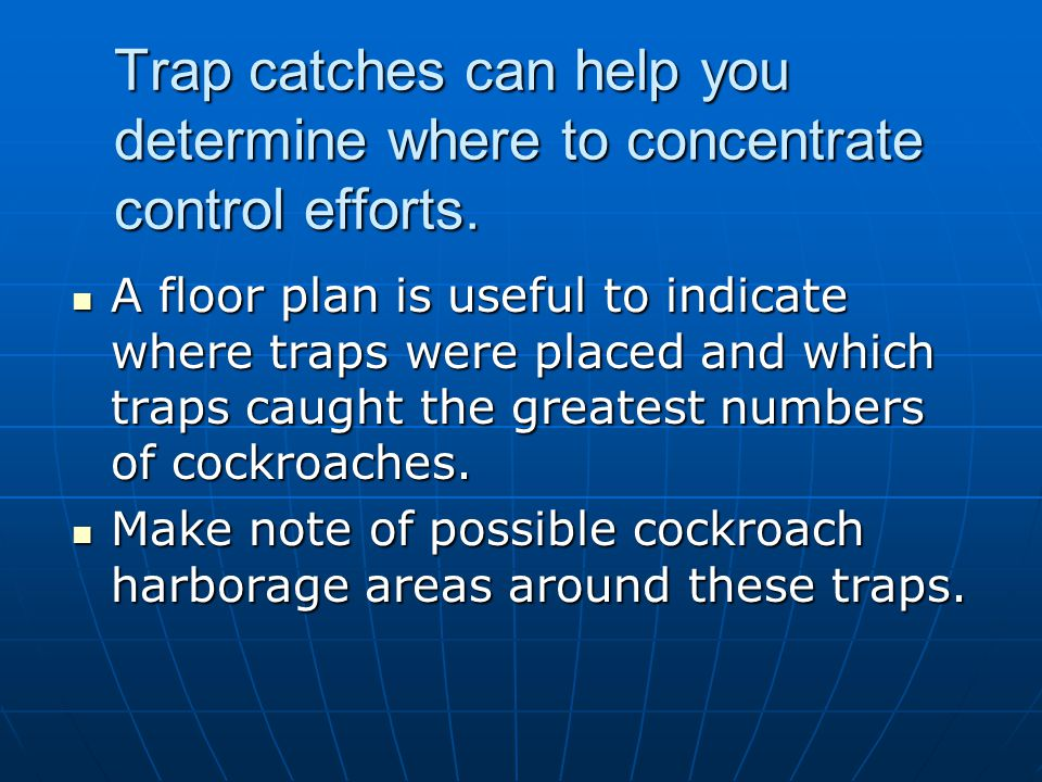 Trap catches can help you determine where to concentrate control efforts. A floor plan is useful to indicate where traps were placed and which traps c