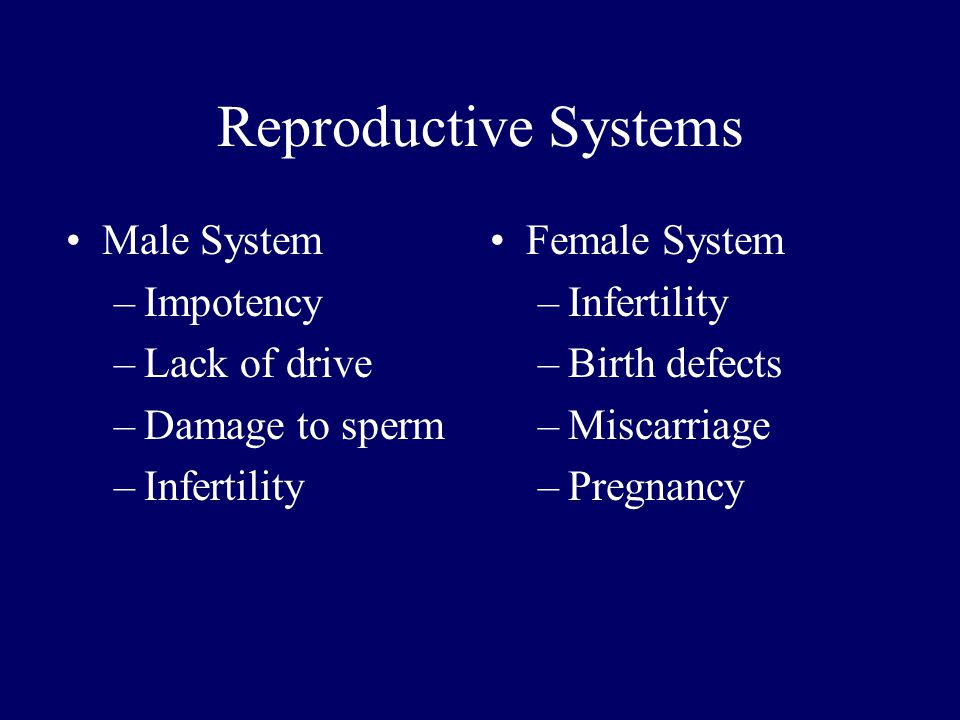 Reproductive Systems Male System –Impotency –Lack of drive –Damage to sperm –Infertility Female System –Infertility –Birth defects –Miscarriage –Pregnancy