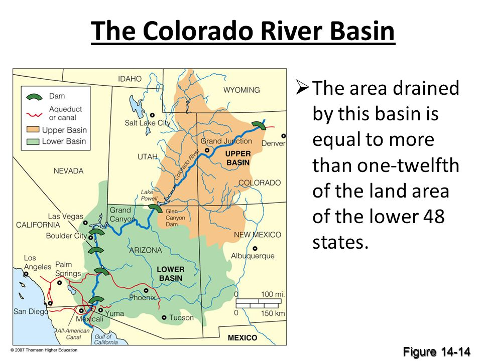 The Colorado River Basin The area drained by this basin is equal to more than one-twelfth of the land area of the lower 48 states. Figure 14-14