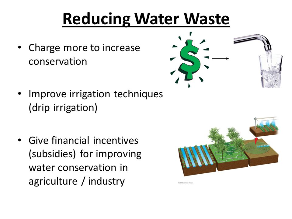Reducing Water Waste Charge more to increase conservation Improve irrigation techniques (drip irrigation) Give financial incentives (subsidies) for im