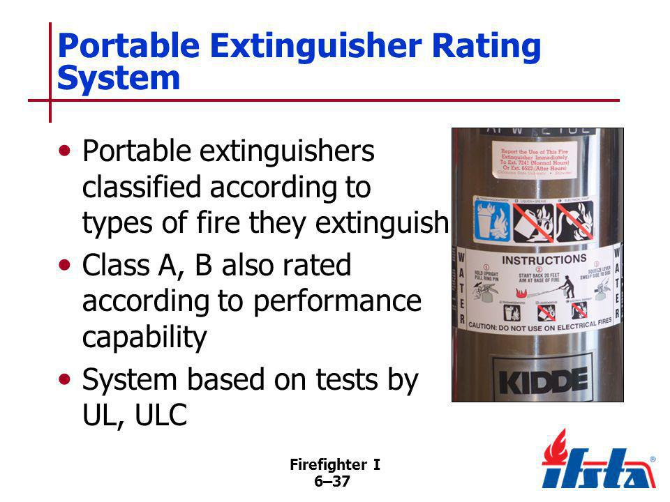 Firefighter I 6–37 Portable Extinguisher Rating System Portable extinguishers classified according to types of fire they extinguish Class A, B also ra