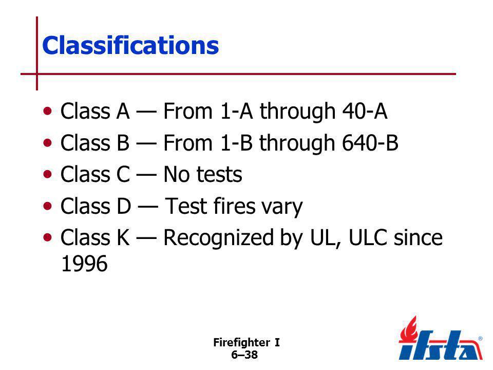 Firefighter I 6–38 Classifications Class A From 1-A through 40-A Class B From 1-B through 640-B Class C No tests Class D Test fires vary Class K Recog