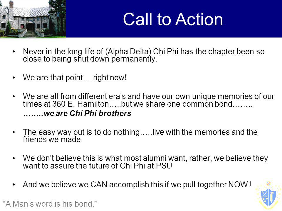 Never in the long life of (Alpha Delta) Chi Phi has the chapter been so close to being shut down permanently.