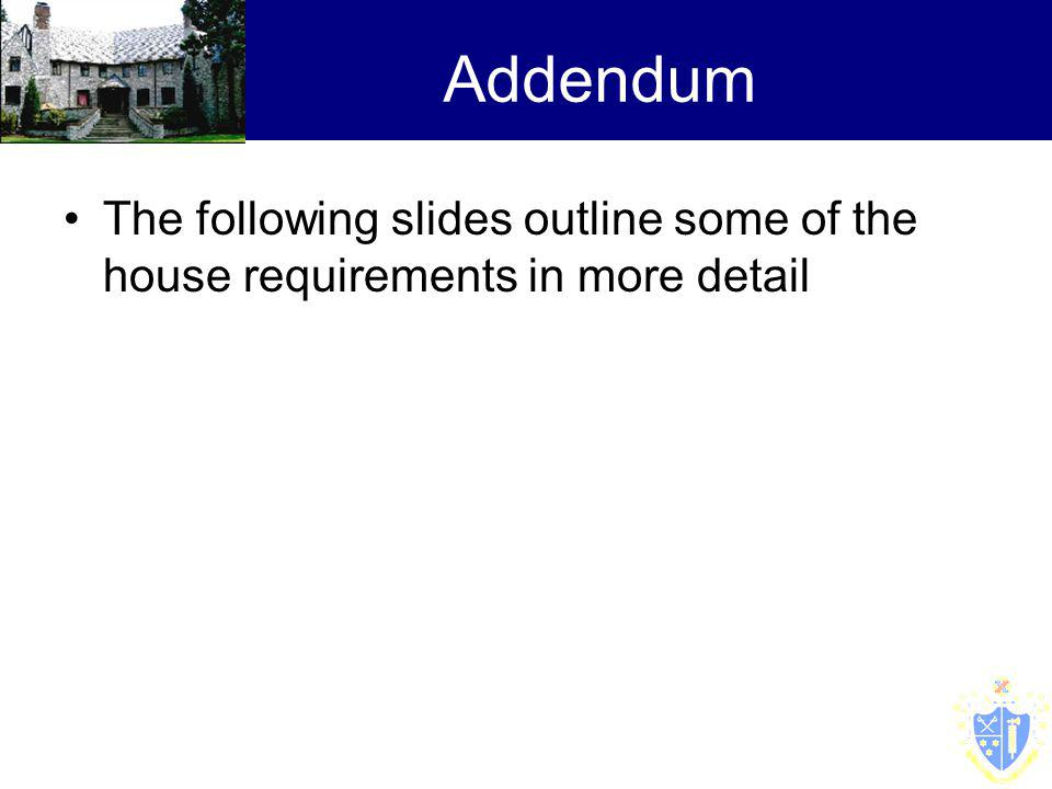 Addendum The following slides outline some of the house requirements in more detail