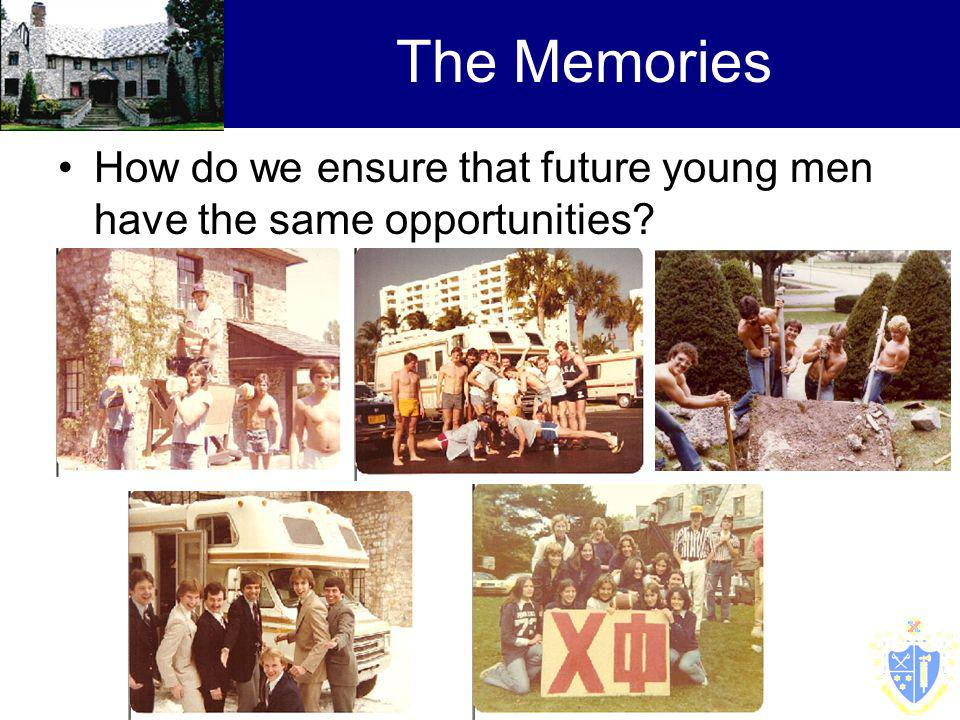 The Memories How do we ensure that future young men have the same opportunities