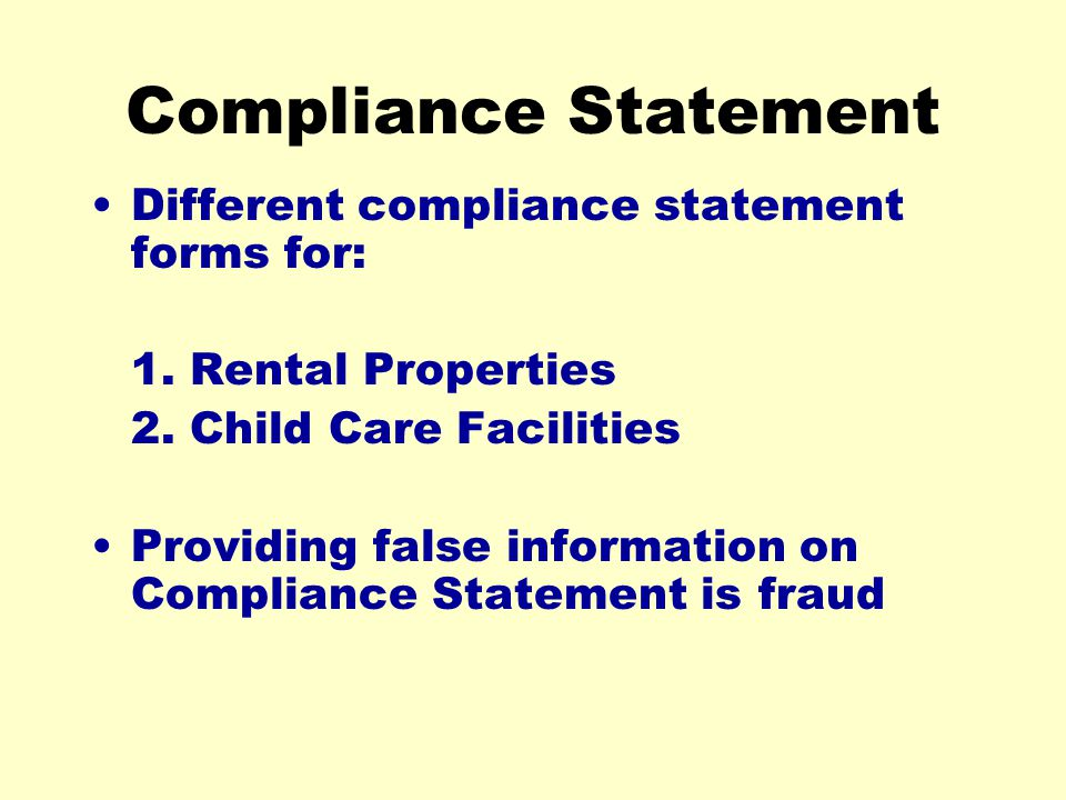 Compliance Statement Different compliance statement forms for: 1.