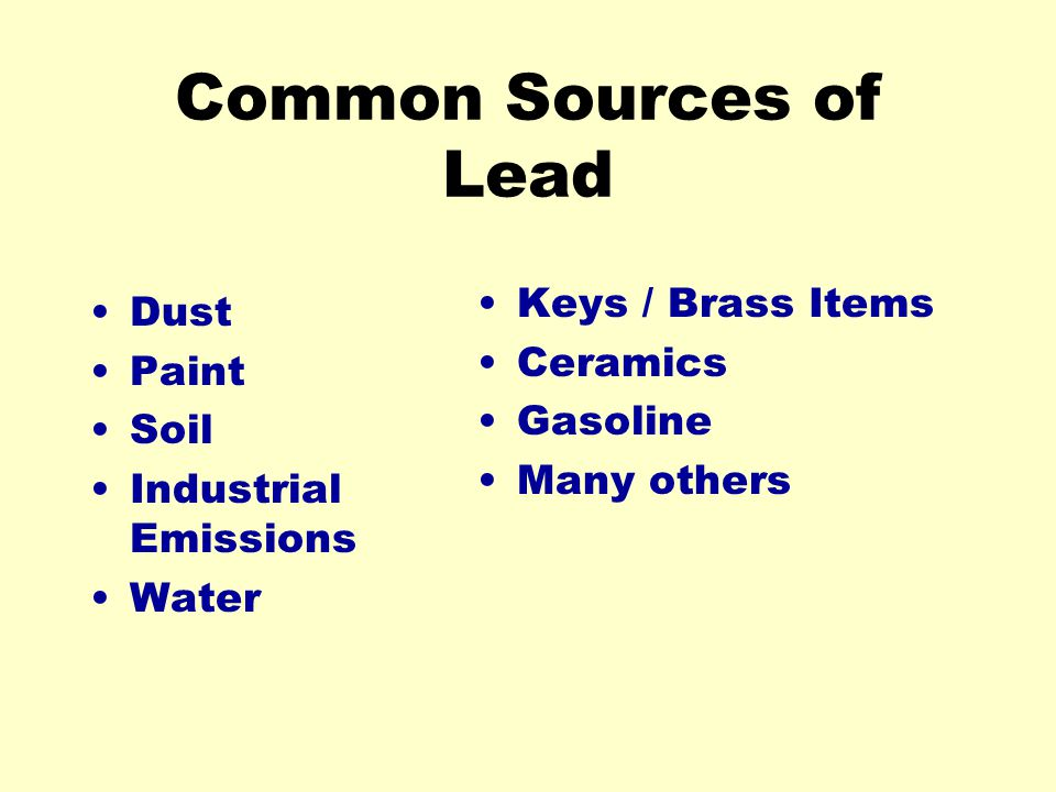 Common Sources of Lead Dust Paint Soil Industrial Emissions Water Keys / Brass Items Ceramics Gasoline Many others