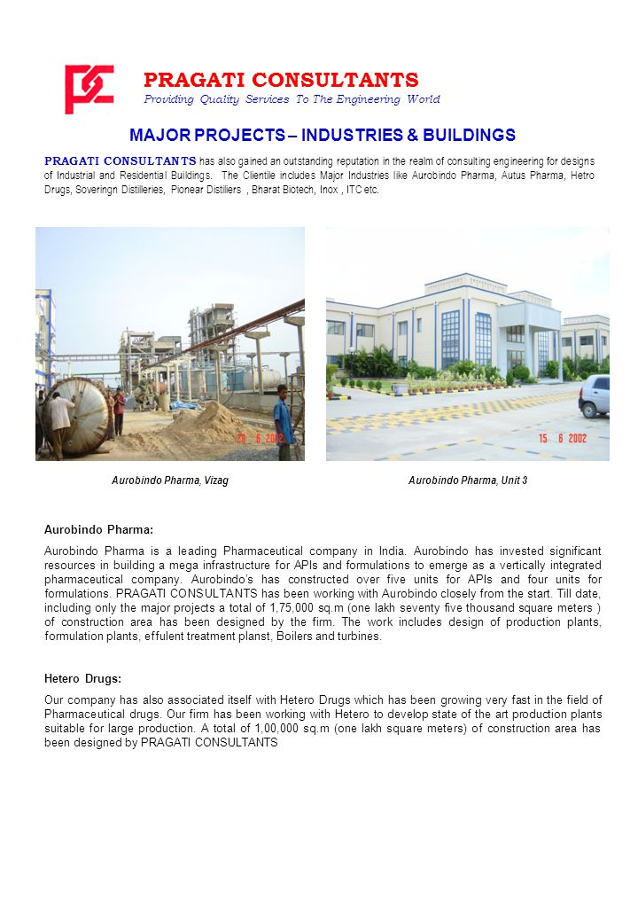 PRAGATI CONSULTANTS has also gained an outstanding reputation in the realm of consulting engineering for designs of Industrial and Residential Buildings.