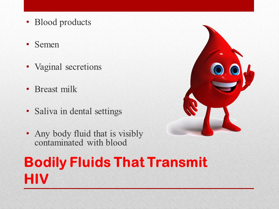 Bodily Fluids That Transmit HIV Blood products Semen Vaginal secretions Breast milk Saliva in dental settings Any body fluid that is visibly contamina