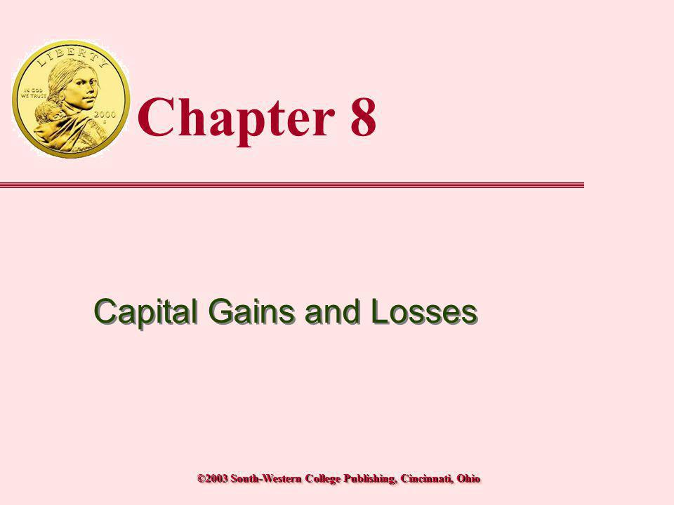 © 2003 South-Western College PublishingTransparency 8-22 Amount realized from disposition less:Adjusted basis of property Realized gain (loss) less:Allowed deferral Recognized gain (loss) Ordinary §1231 (Form 4797) Capital (Schedule D) Personal Use Character of gain (loss) Character of Gain or Loss