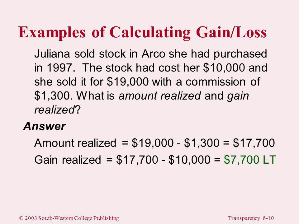 © 2003 South-Western College PublishingTransparency 8-10 Juliana sold stock in Arco she had purchased in 1997.