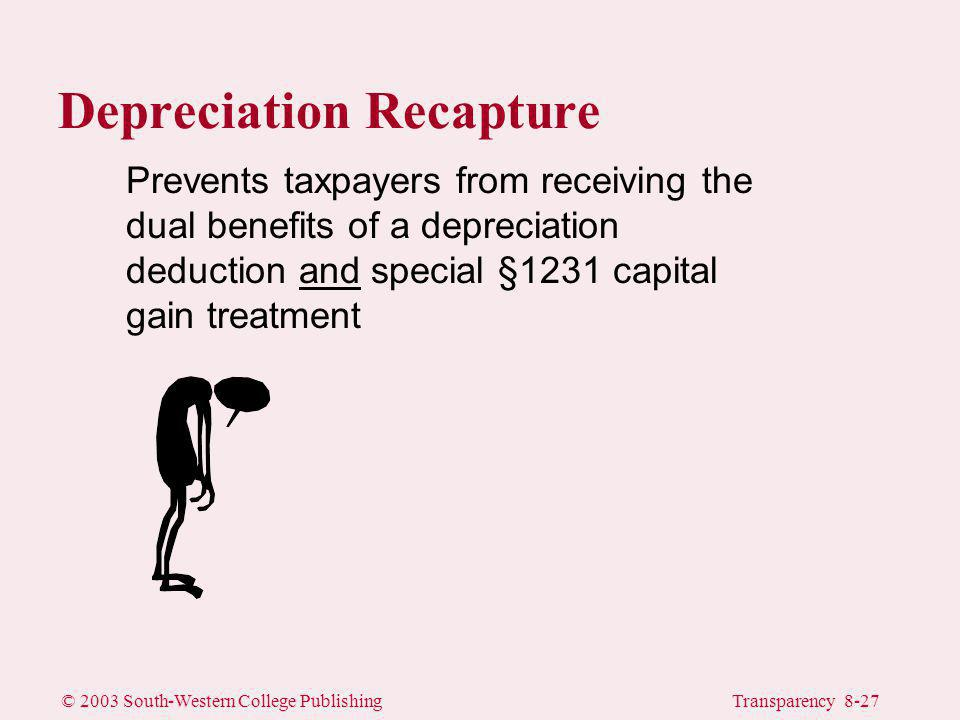 © 2003 South-Western College PublishingTransparency 8-27 Prevents taxpayers from receiving the dual benefits of a depreciation deduction and special §1231 capital gain treatment Depreciation Recapture