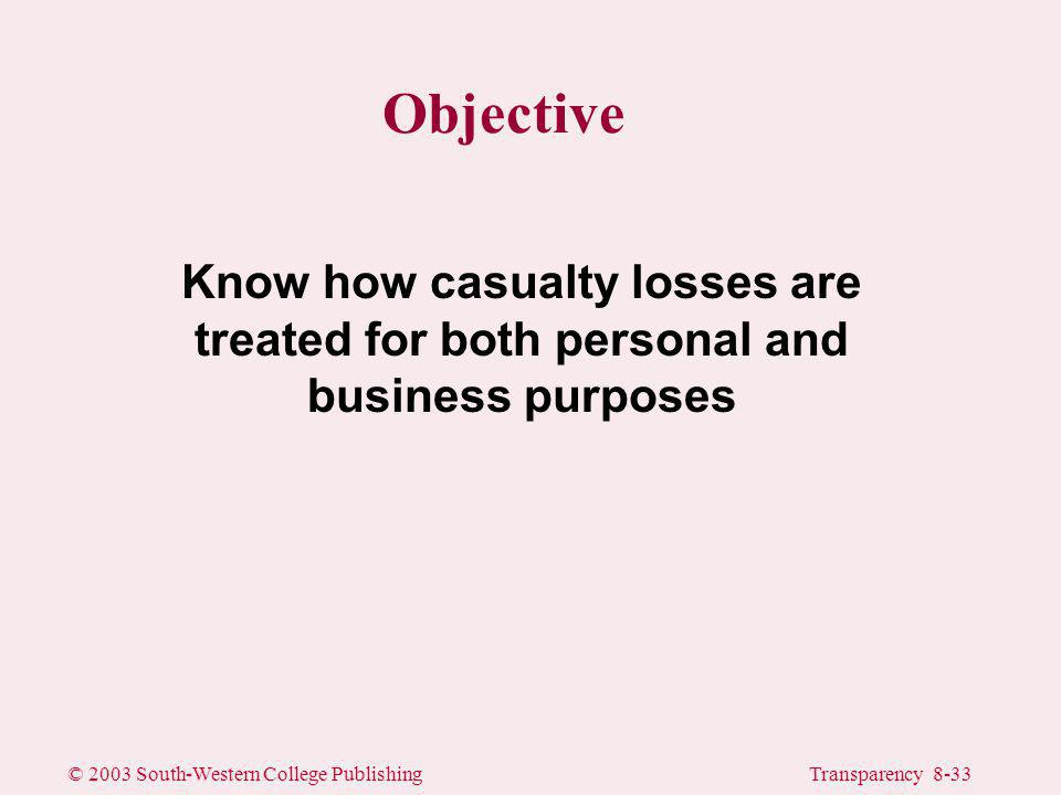 © 2003 South-Western College PublishingTransparency 8-33 Objective Know how casualty losses are treated for both personal and business purposes