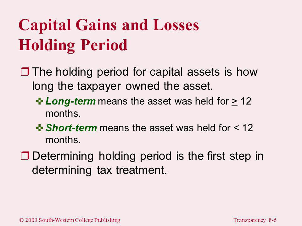 © 2003 South-Western College PublishingTransparency 8-6 Capital Gains and Losses Holding Period rThe holding period for capital assets is how long the taxpayer owned the asset.