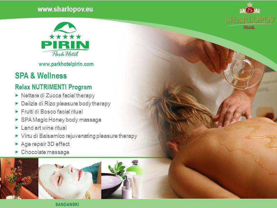 www.sharlopov.eu www.parkhotelpirin.com Nettare di Zucca facial therapy Delizia di Rizo pleasure body therapy Frutti di Bosco facial ritual SPA Magic