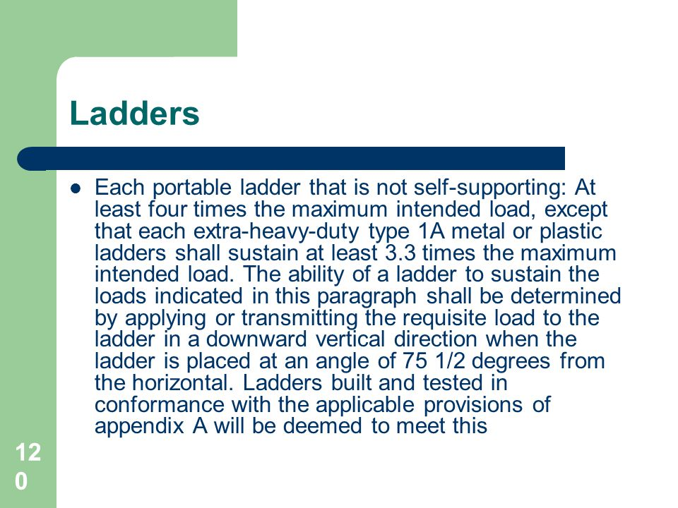 120 Ladders Each portable ladder that is not self-supporting: At least four times the maximum intended load, except that each extra-heavy-duty type 1A
