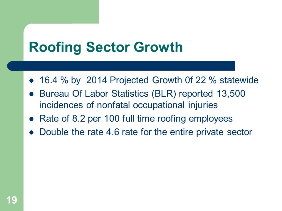 19 Roofing Sector Growth 16.4 % by 2014 Projected Growth 0f 22 % statewide Bureau Of Labor Statistics (BLR) reported 13,500 incidences of nonfatal occ