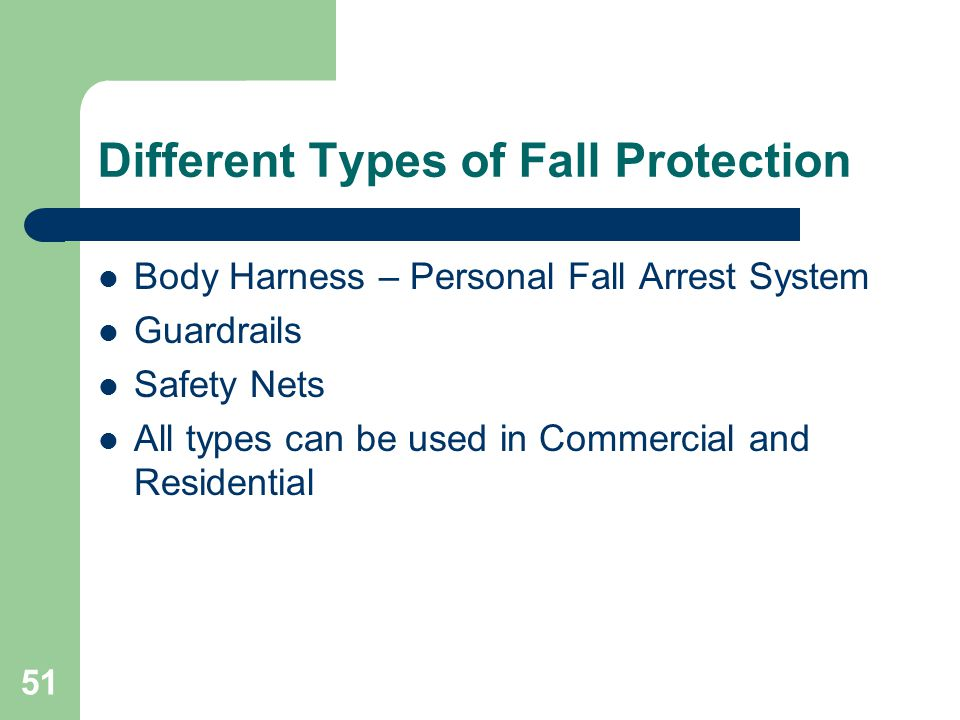 51 Different Types of Fall Protection Body Harness – Personal Fall Arrest System Guardrails Safety Nets All types can be used in Commercial and Reside