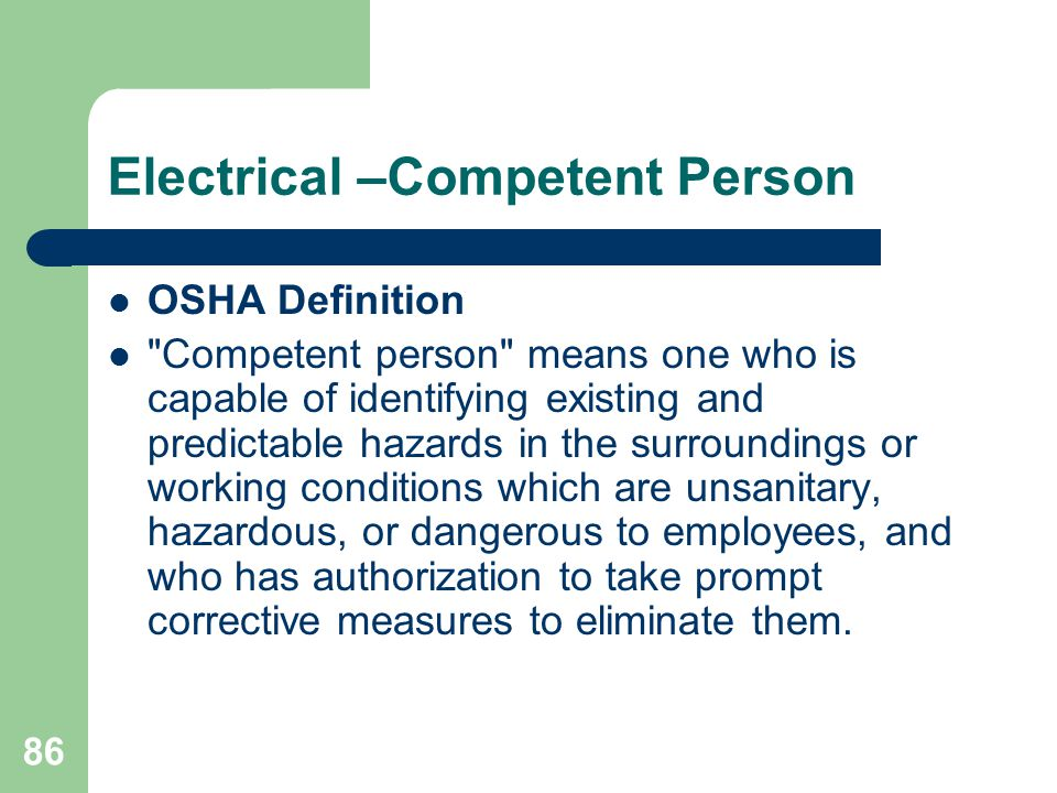 86 Electrical –Competent Person OSHA Definition
