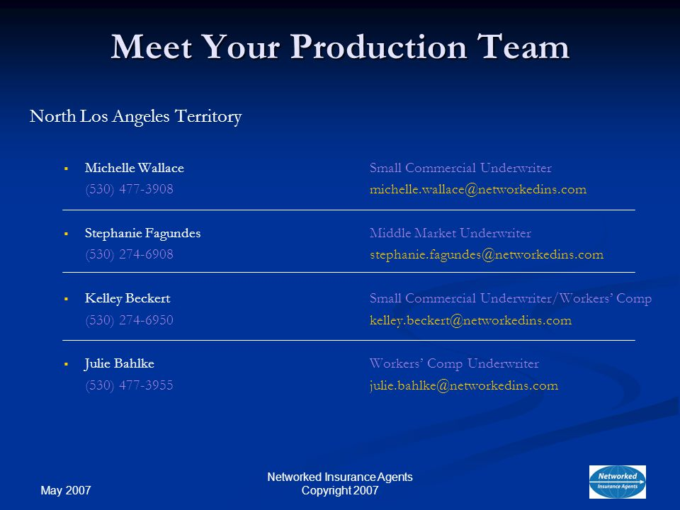 May 2007 Networked Insurance Agents Copyright 2007 Meet Your Production Team North Los Angeles Territory Michelle WallaceSmall Commercial Underwriter (530) Stephanie Fagundes Middle Market Underwriter (530) Kelley BeckertSmall Commercial Underwriter/Workers Comp (530) Julie BahlkeWorkers Comp Underwriter (530)