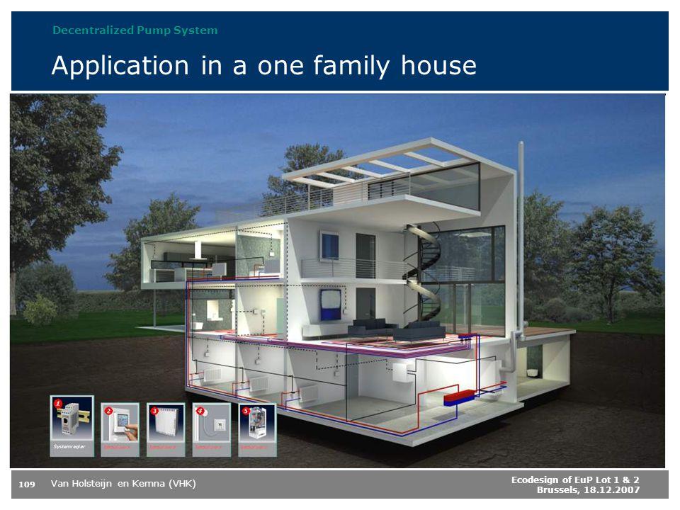 Van Holsteijn en Kemna (VHK) 109 Ecodesign of EuP Lot 1 & 2 Brussels, 18.12.2007 Application in a one family house Decentralized Pump System