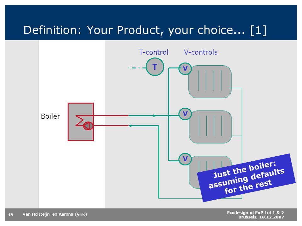 Van Holsteijn en Kemna (VHK) 19 Ecodesign of EuP Lot 1 & 2 Brussels, 18.12.2007 Definition: Your Product, your choice... [1] V V V T Boiler T-controlV