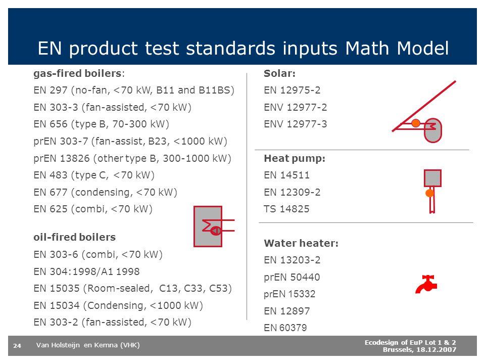 Van Holsteijn en Kemna (VHK) 24 Ecodesign of EuP Lot 1 & 2 Brussels, 18.12.2007 EN product test standards inputs Math Model gas-fired boilers: EN 297 (no-fan, <70 kW, B11 and B11BS) EN 303-3 (fan-assisted, <70 kW) EN 656 (type B, 70-300 kW) prEN 303-7 (fan-assist, B23, <1000 kW) prEN 13826 (other type B, 300-1000 kW) EN 483 (type C, <70 kW) EN 677 (condensing, <70 kW) EN 625 (combi, <70 kW) oil-fired boilers EN 303-6 (combi, <70 kW) EN 304:1998/A1 1998 EN 15035 (Room-sealed, C13, C33, C53) EN 15034 (Condensing, <1000 kW) EN 303-2 (fan-assisted, <70 kW) Solar: EN 12975-2 ENV 12977-2 ENV 12977-3 Heat pump: EN 14511 EN 12309-2 TS 14825 Water heater: EN 13203-2 prEN 50440 prEN 15332 EN 12897 EN 60379