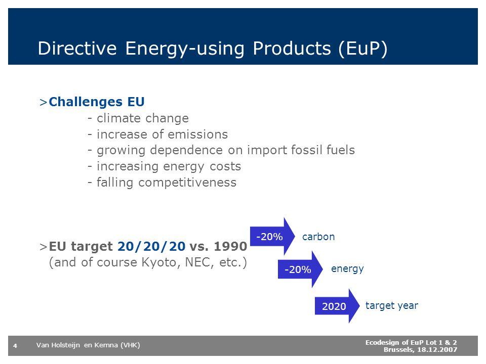 Van Holsteijn en Kemna (VHK) 4 Ecodesign of EuP Lot 1 & 2 Brussels, 18.12.2007 Directive Energy-using Products (EuP) >Challenges EU - climate change -