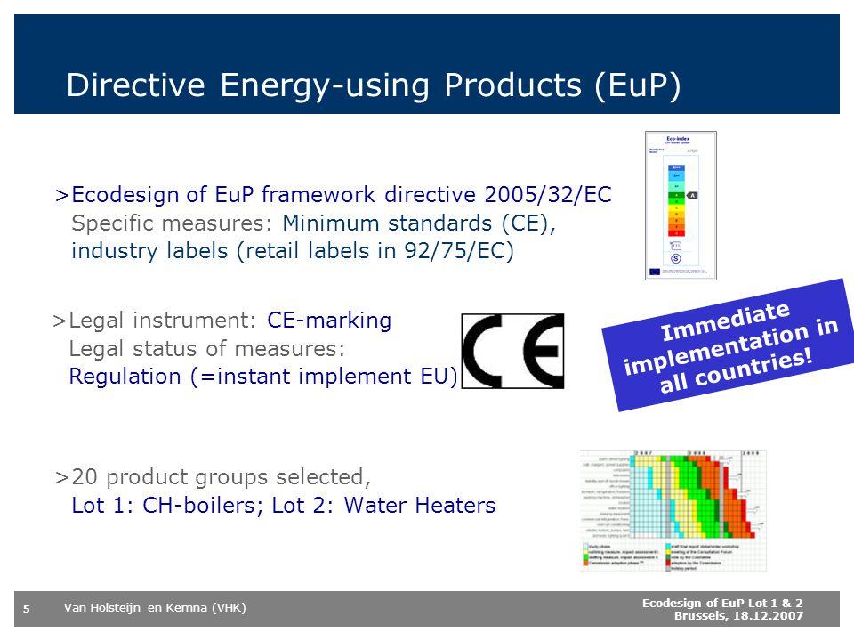 Van Holsteijn en Kemna (VHK) 5 Ecodesign of EuP Lot 1 & 2 Brussels, 18.12.2007 Directive Energy-using Products (EuP) >Ecodesign of EuP framework direc