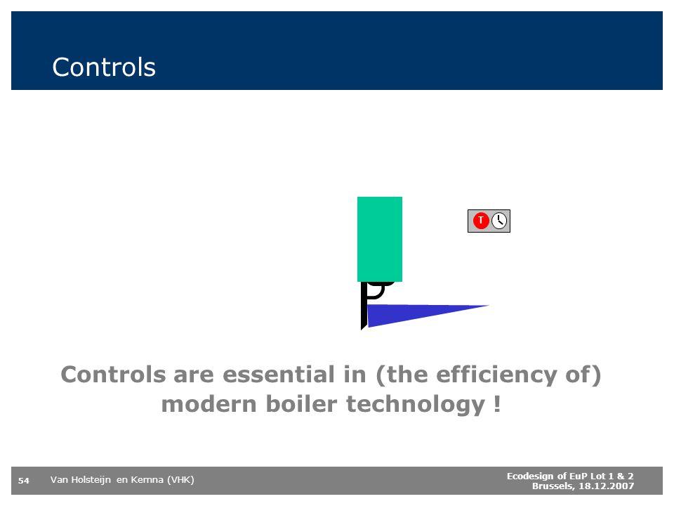 Van Holsteijn en Kemna (VHK) 54 Ecodesign of EuP Lot 1 & 2 Brussels, 18.12.2007 Controls Controls are essential in (the efficiency of) modern boiler technology .